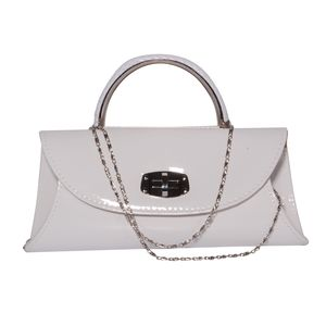 Glossy White Faux Patent Leather Envelope Crossbody Bag with Removable Chain Strap (59 in) (10x2x4.5 in)