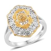 KARIS Collection - Yellow Diamond Accent (IR) ION Plated 18K YG and Platinum Bond Brass Ring (Size 8.0)