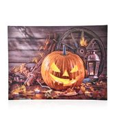 Halloween Pumpkin Lamp Pattern Wall Art with LED Light & Canvas Print (16x12 in) (AA Battery Not Included)