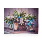 Lantern and Flower with Vase Pattern Wall Art with LED Light & Canvas Print (16x12 in) (AA Battery Not Included)