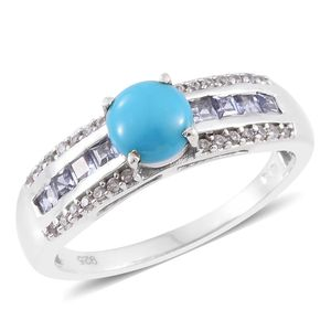 Arizona Sleeping Beauty Turquoise, Tanzanite, Cambodian Zircon Platinum Over Sterling Silver Ring (Size 8.0) TGW 1.38 cts.