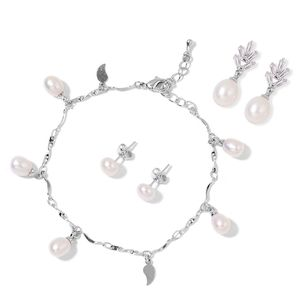 Freshwater Pearl, Simulated White Diamond Silvertone Paisley Charm Bracelet and Set of 2 Earrings TGW 2.00 cts.