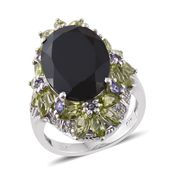Thai Black Spinel, Multi Gemstone Platinum Over Sterling Silver Floral Elongated Ring (Size 7.0) TGW 18.60 cts.