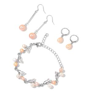 Freshwater Peach and White Pearl, Simulated White Diamond Silvertone Bracelet (8.50 In) and Set of 2 Dangle & Drop Earrings TGW 3.00 cts.
