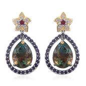 Aqua Terra Costa Quartz, Multi Gemstone 14K YG and Platinum Over Sterling Silver Earrings TGW 21.10 cts.