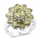 Hebei Peridot, Cambodian Zircon Platinum Over Sterling Silver Ring (Size 7.0) TGW 6.55 cts.