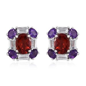 Red Andesine, White Topaz, Amethyst Platinum Over Sterling Silver Stud Earrings TGW 4.82 cts.