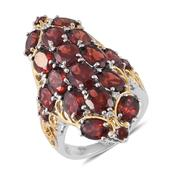 Mozambique Garnet, Cambodian Zircon 14K YG and Platinum Over Sterling Silver Ring (Size 5.0) TGW 14.04 cts.