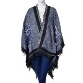Reversible Blue 70% Acrylic and 30% Polyester Fringe Velvet Touch Ruana with Pockets (One Size)
