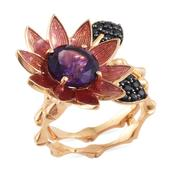 GP Amethyst, Thai Black Spinel Enameled 14K YG Over Sterling Silver Multi Wear Floral Ring (Size 7.0) TGW 4.39 cts.