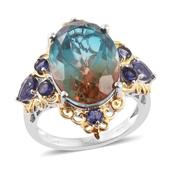 Aqua Terra Costa Quartz, Catalina Iolite 14K YG and Platinum Over Sterling Silver Ring (Size 8.0) TGW 15.00 cts.