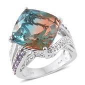 Aqua Terra Costa Quartz, Tanzanite, Cambodian Zircon Platinum Over Sterling Silver Ring (Size 6.0) TGW 18.94 cts.