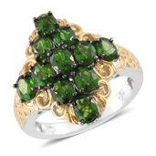 Russian Diopside Black Rhodium, 14K YG and Platinum Over Sterling Silver Ring (Size 6.0) TGW 4.10 cts.