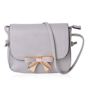 Gray Faux Leather Flap Over Crossbody Bag with Snap Bow Closure (9x3x7 in)