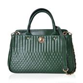 Green Faux Leather Quilted Pattern Tote Bag (13.2x5.2x9 in)