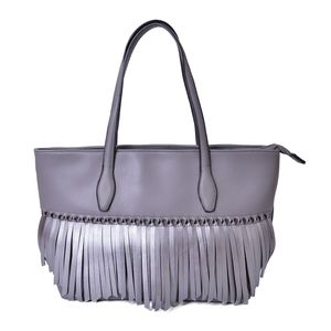 Silver Faux Leather Twisted Fringe Structured Shoulder Bag (14x5.5x11 in)