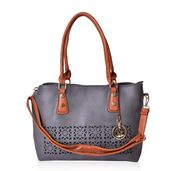 Charcoal Gray and Brown Faux Leather Laser Cut Tote Bag with Removeable Shoulder Strap (43 In) and Maple Leaf Key Charm (14.5x5.5x11 in)