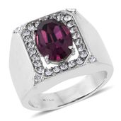 Stainless Steel Men's Ring (Size 10.0) Made with SWAROVSKI Amethyst and White Crystal TGW 5.73 cts.