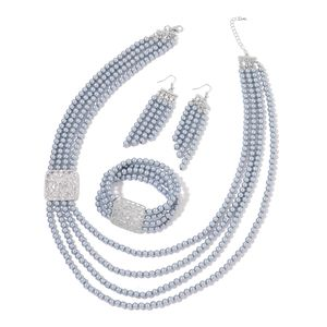 One Day TLV Simulated Gray Pearl, White Austrian Crystal Silvertone Bracelet (Stretchable), Earrings and Necklace (24.00 In)