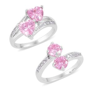 Set of 2 Simulated Pink Sapphire, Simulated Diamond Silvertone Rings (Size 6.75) TGW 3.60 cts.