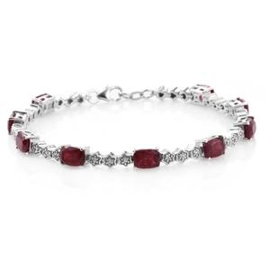 Niassa Ruby, Cambodian Zircon Platinum Over Sterling Silver Bracelet (7.50 In) TGW 13.02 cts.