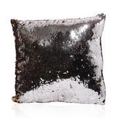 Silver and Gold Square Sequn Pillow (11x11 In)