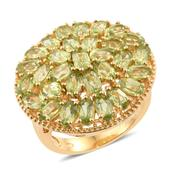 Hebei Peridot 14K YG Over Sterling Silver Cluster Ring (Size 6.0) TGW 8.52 cts.