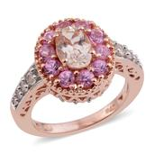 Marropino Morganite, Madagascar Pink Sapphire 14K RG Over Sterling Silver Ring (Size 5.0) TGW 1.76 cts.