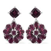 Orissa Rhodolite Garnet Platinum Over Sterling Silver Earrings TGW 7.66 cts.