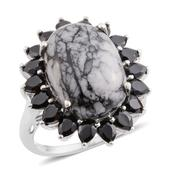 Austrian Pinolith, Thai Black Spinel Platinum Over Sterling Silver Ring (Size 9.0) TGW 17.30 cts.