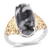 Austrian Pinolith 14K YG and Platinum Over Sterling Silver Ring (Size 6.0) TGW 9.80 cts.