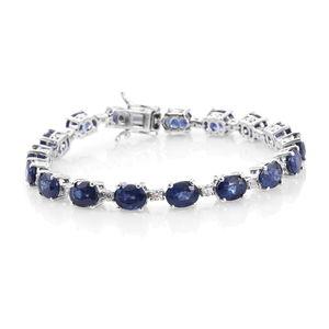 Masoala Sapphire, Cambodian Zircon Platinum Over Sterling Silver Bracelet (7.25 In) TGW 26.75 cts.