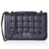 Black Quilted Faux Leather Studded Crossbody Bag (10x4x6.5 in)