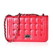 Metallic Red Quilted Faux Leather Studded Crossbody Bag (10x4x6.5 in)