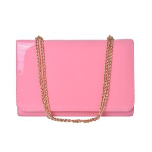 Pink Crossbody Bag with Magntic Closure and Goldtone Chain Strap (12.5x4.3x8.3 in)