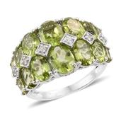 Hebei Peridot, Cambodian Zircon Platinum Over Sterling Silver Ring (Size 10.0) TGW 9.01 cts.