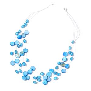 Blue Shell, Freshwater Blue Pearl Sterling Silver Multi Strand Floating Necklace (18 in)