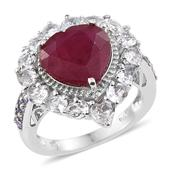 Niassa Ruby, Tanzanite, White Topaz Platinum Over Sterling Silver Heart Ring (Size 9.0) TGW 11.53 cts.