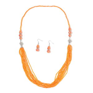 One Time Only Orange Glass, White Austrian Crystal Silvertone and Stainless Steel Earrings and Multi Strand Drape Necklace (36 in)