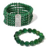 Green Glass, Green Agate, White Austrian Crystal Silvertone Set of 2 Bracelet (Stretchable) TGW 396.50 cts.
