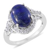 Lapis Lazuli, Cambodian Zircon Platinum Over Sterling Silver Ring (Size 6.0) TGW 7.21 cts.