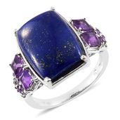 Lapis Lazuli, Amethyst Platinum Over Sterling Silver Ring (Size 8.0) TGW 19.00 cts.