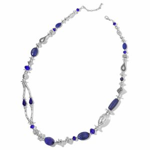 Lapis Lazuli, Blue Glass Beads, Chroma Silvertone Necklace (36-38 in) TGW 200.00 cts.