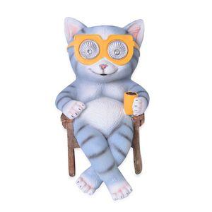 Grey Cat in Chair Garden Decor Solar LED Light (7.48x4.72x6.69 in)