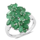 Kagem Zambian Emerald Platinum Over Sterling Silver Floral Ring (Size 8.0) TGW 4.82 cts.