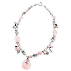 Galilea Rose Quartz, Multi Gemstone Silvertone Necklace with Charms (34 in) TGW 290.00 cts.