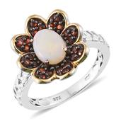 Australian White Opal, Mozambique Garnet 14K YG and Platinum Over Sterling Silver Ring (Size 6.0) TGW 1.72 cts.