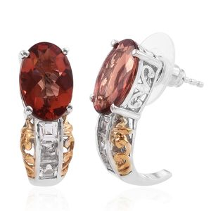 Red Andesine, White Topaz 14K YG and Platinum Over Sterling Silver J-Hoop Earrings TGW 6.42 cts.