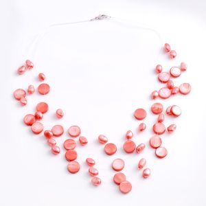 Red Shell, Freshwater Red Pearl Sterling Silver Multi Strand Floating Necklace (18 in)