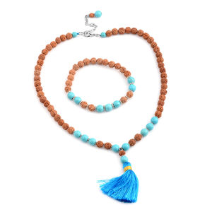 Ganitrus, Blue Howlite Beads Silvertone Nacklace and Bracelet (Stretchable)